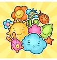 cute child background with kawaii doodles spring