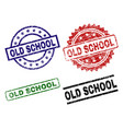 damaged textured old school seal stamps vector image