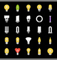 different lightbulb icon set flat design vector image vector image