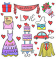 Doodle of wedding element collection stock vector image