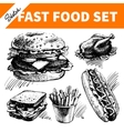 Fast food set Hand drawn sketch