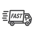 fast shipping line icon delivery truck vector image