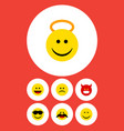 flat icon face set of smile happy sad and other vector image vector image