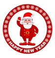 happy new year poster with santa claus on a red vector image vector image