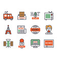 Hot news icons flat style colorful set websites