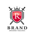 letter r with two crossed swordsshield with crown vector image vector image