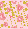 modern hearts on pink an gold background seamless vector image vector image