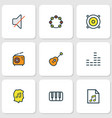 multimedia icons colored line set with equalizer vector image vector image