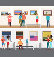 museum visitors people in art exhibition vector image vector image