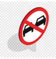 no overtaking sign isometric icon vector image vector image