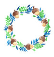 oak seed and fern wreath background watercolor vector image vector image