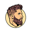 pop art men hipster face profile vector image