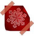 red paper snowflake over red sticker vector image vector image