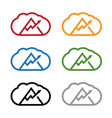 set clouds with arrow and mountain design vector image