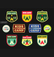 set of kids adventure summer camp emblem or badge vector image vector image