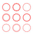 set of round frames with hearts in vintage vector image vector image