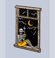 skull sitting in front window vector image vector image