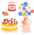 summer party icons isolated strawberry vector image