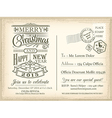 Vintage Christmas Happy New year holiday postcard vector image