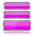 violet glass buttons rectangle 3d icons with vector image vector image