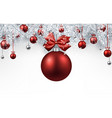 white background with red christmas ball vector image vector image