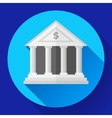white bank icon with long shadow vector image vector image