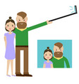 modern young couple taking selfie photo hipster vector image