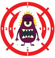 target with dark lilac monster flat style vector image
