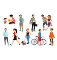 peoples walking on street vector image