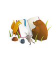 animals reading book watercolor style vector image