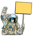 astronaut with gag protesting isolate on white vector image vector image