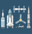 astronautics and space technology set vector image