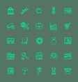 Banking and financial green color line icons vector image vector image