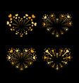beautiful heart-fireworks set gold romantic vector image vector image