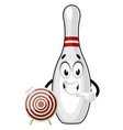 bowling pin with target on white background vector image vector image