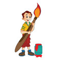 boy with a giant paintbrush vector image vector image
