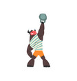 bull weightlifter lifting kettlebell funny vector image vector image