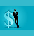 businessman leaning on big dollar symbol vector image vector image