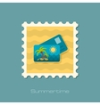 Card with palm flat stamp vector image vector image