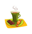 cartoon cup of hot tea on saucer with candy and vector image vector image