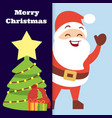 christmas banner with happy santa vector image vector image