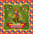 circus card with the harlequin vector image vector image