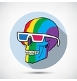 Color Skull in 3D Glasses vector image vector image