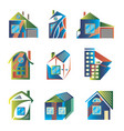 colored logos in the form of houses vector image