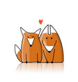 couple cute foxes sketch for your design vector image vector image