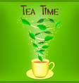 Cup of herbal tea with text Tea time vector image