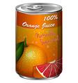 Fresh orange juice in can vector image vector image