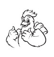 funny chicken emblem vector image vector image
