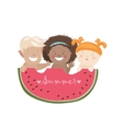 Funny children eating watermelon vector image vector image