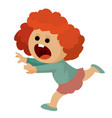 girl is very scared and runs away isolated object vector image vector image